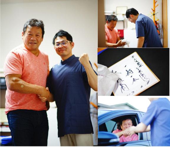 藤波様と記者様に取材を受けました。
